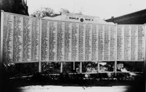 The Ashland World War II Roll of Honor board. Photo courtesy of the Terry Skibby Collection